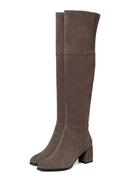 Milanoo Women\'s Over The Knee Boots Suede Leather Black Round Toe 2.6 Block Heel Boots