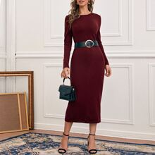Solid Round Neck Sweater Dress With Belt