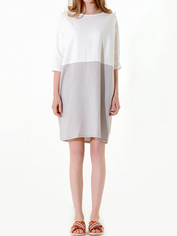 Pure Color Crew Neck 3/4 Sleeve Dress