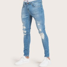Men Ink Point Print Ripped Carrot Jeans