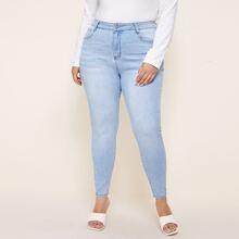 Plus Light Wash Skinny Jeans