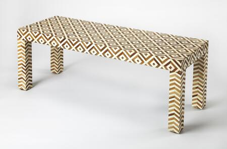 Crispin Collection 4498338 Bench with Teak And Bone Inlay  Modern Style  Rectangle Shape and Solid Wood in Wood and Bone Inlay