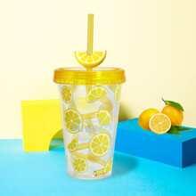 Lemon Print Straw Cup