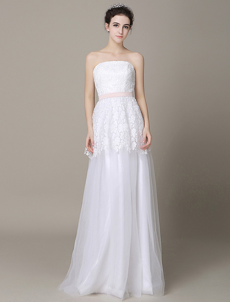 Milanoo Ivory Wedding Dress Strapless Backless Sash Tulle Wedding Gown