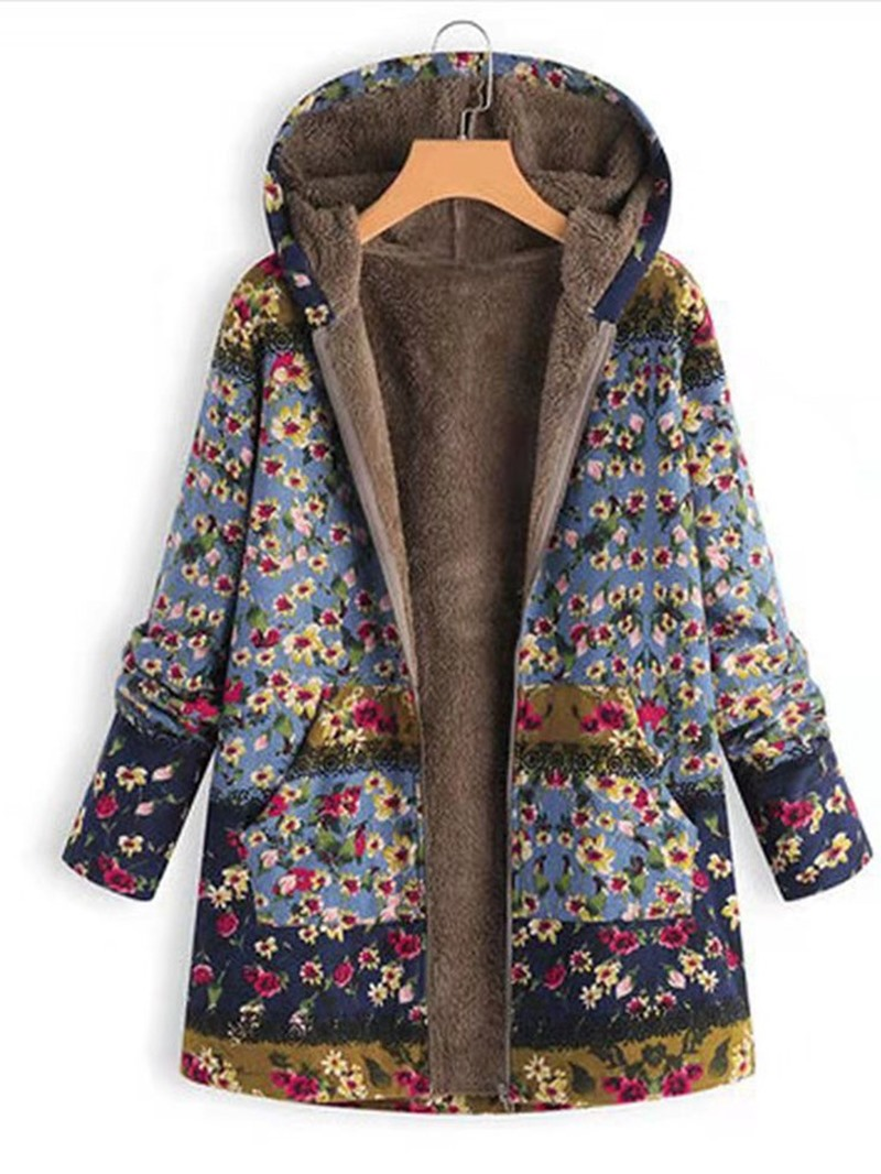 Ericdress Zipper Regular Floral Mid-Length Women's Coat