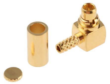 TE Connectivity 50Ω Right Angle Cable Mount MMCX Connector, Plug, Solder Termination, RG178
