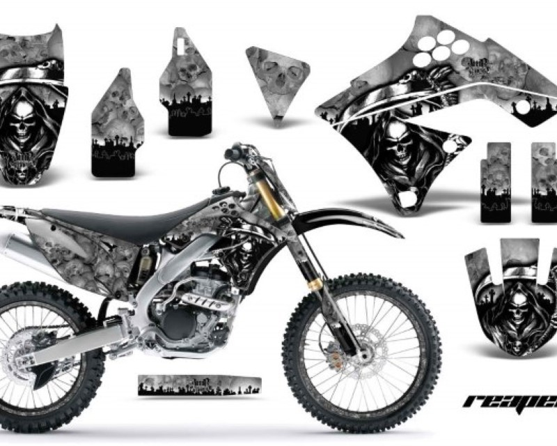 AMR Racing Graphics MX-NP-KAW-KX250F-09-12-RP S Kit Decal Sticker Wrap + # Plates For Kawasaki KX250F 2009-2012áREAPER SILVER