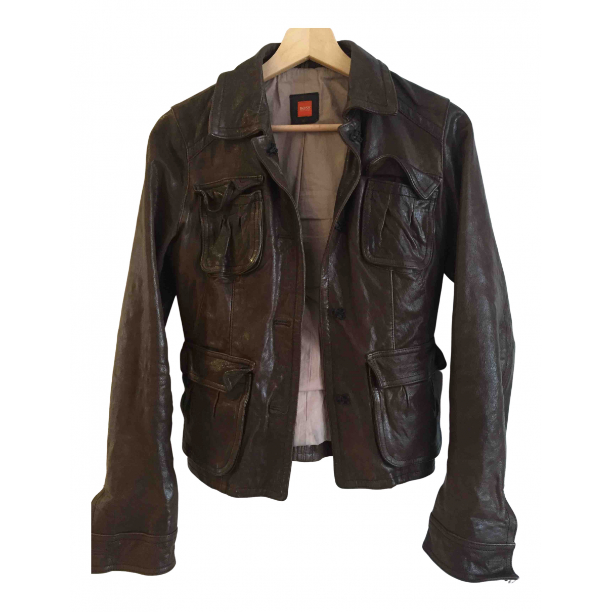 Boss \N Brown Leather jacket for Women 8 UK