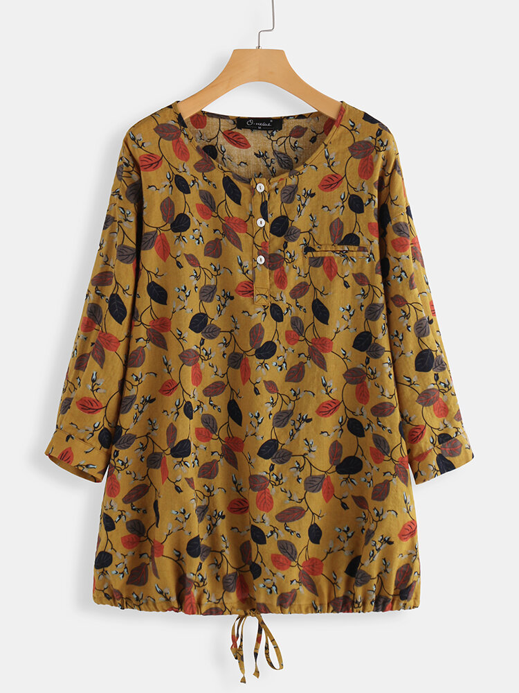 Leaves Print 3/4 Sleeve Casual Plus Size Blouse