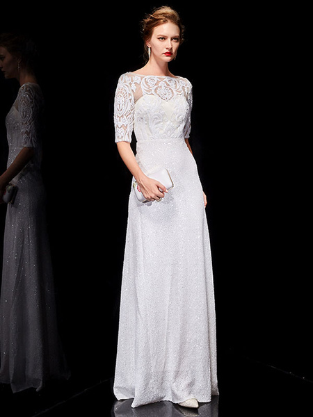 Milanoo White Evening Dresses Lace Half Sleeve Sequin Long Formal Occasion Dress