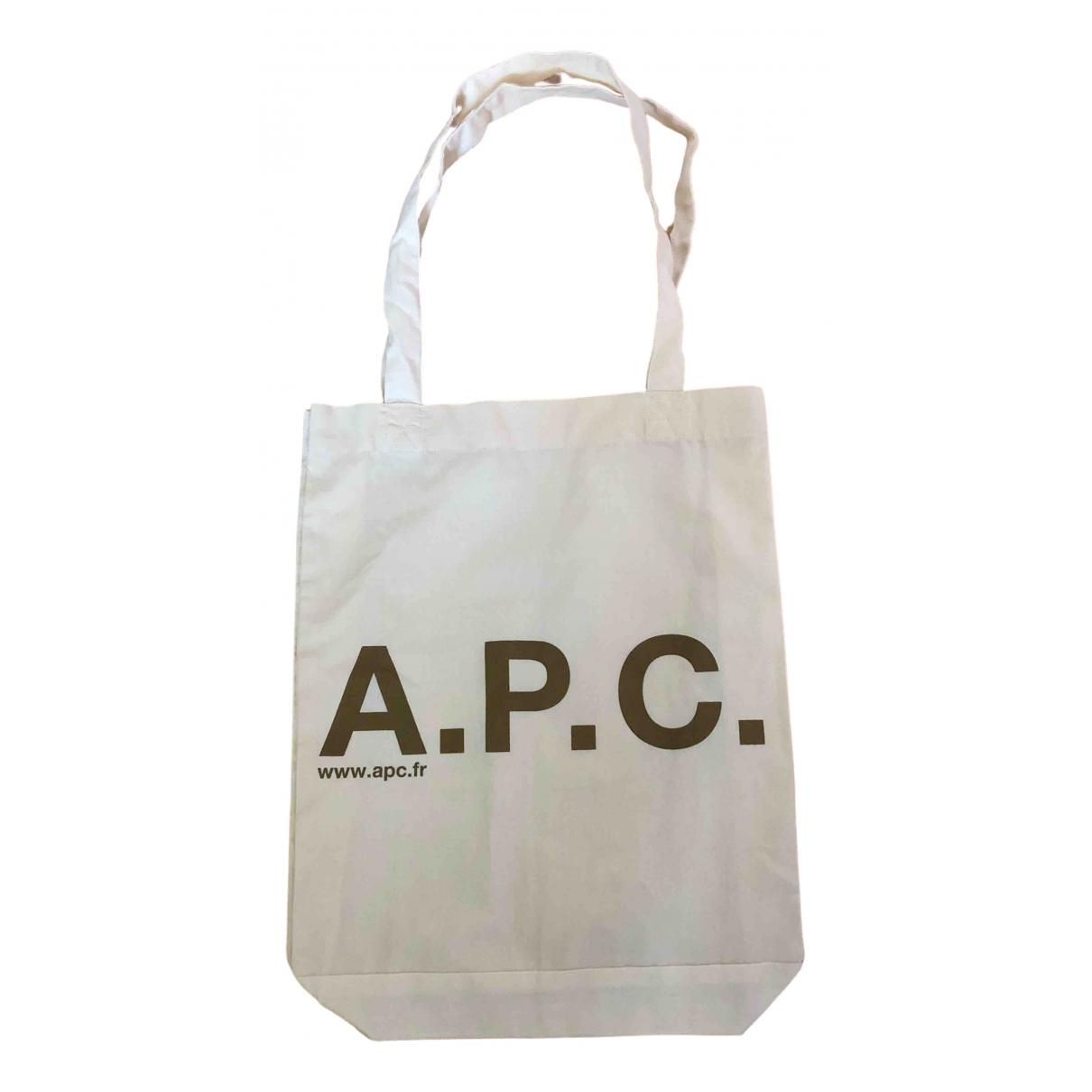 Apc - Sac a main   pour femme en coton - ecru