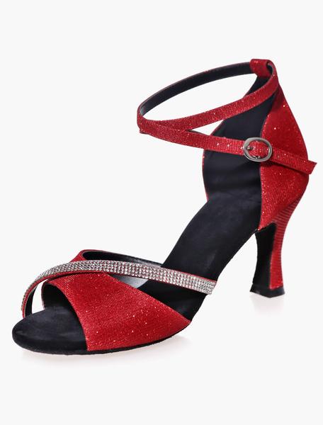 Milanoo Salon de baile zapatos Glitter negro tobillo correa Rhinestones