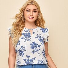Plus Keyhole Neck Ruffle Trim Floral Top