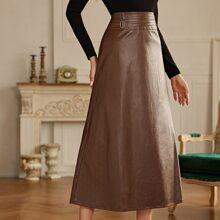Zip Back PU Leather Skirt