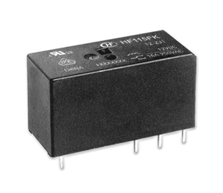 Hongfa Europe GMBH , 12V dc Coil Non-Latching Relay DPDT, 8A Switching Current PCB Mount, 2 Pole (5)
