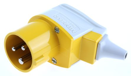 MENNEKES IP44 Yellow Cable Mount 3P Industrial Power Plug, Rated At 16.0A, 110.0 V