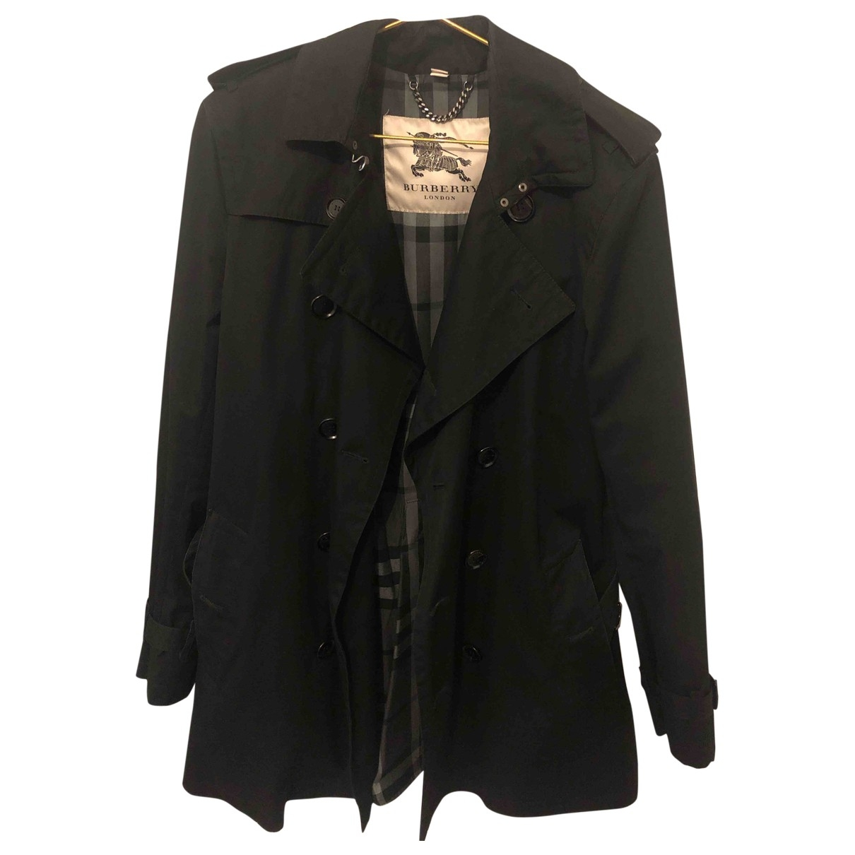 Burberry \N Black Cotton coat  for Men 48 IT
