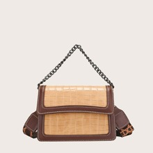 Contrast Piping Croc Embossed Chain Satchel Bag
