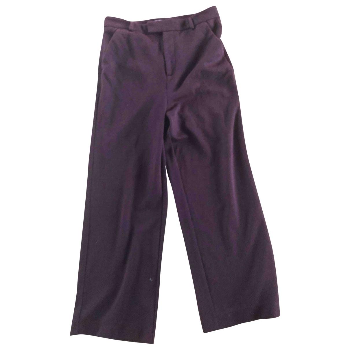 Ganni \N Burgundy Cotton Trousers for Women 12 UK