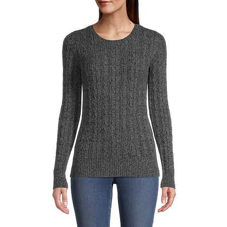 St. John's Bay Cable Womens Crew Neck Long Sleeve Pullover Sweater, Large , Gray