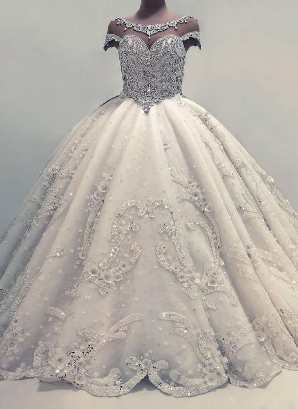 Robe de Mariee de Luxe avec Cristal Manches Courtes Robe de Bal Princesse