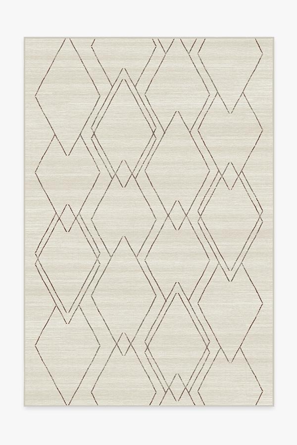 Washable Rug Cover | Diamond Dalia Beige Ivory Rug | Stain-Resistant | Ruggable | 6x9