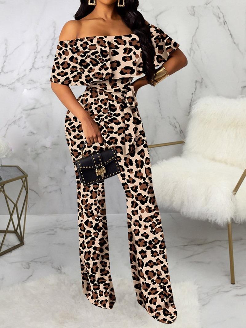 Ericdress Off Shoulder Full Length Leopard Skinny Jumpsuit