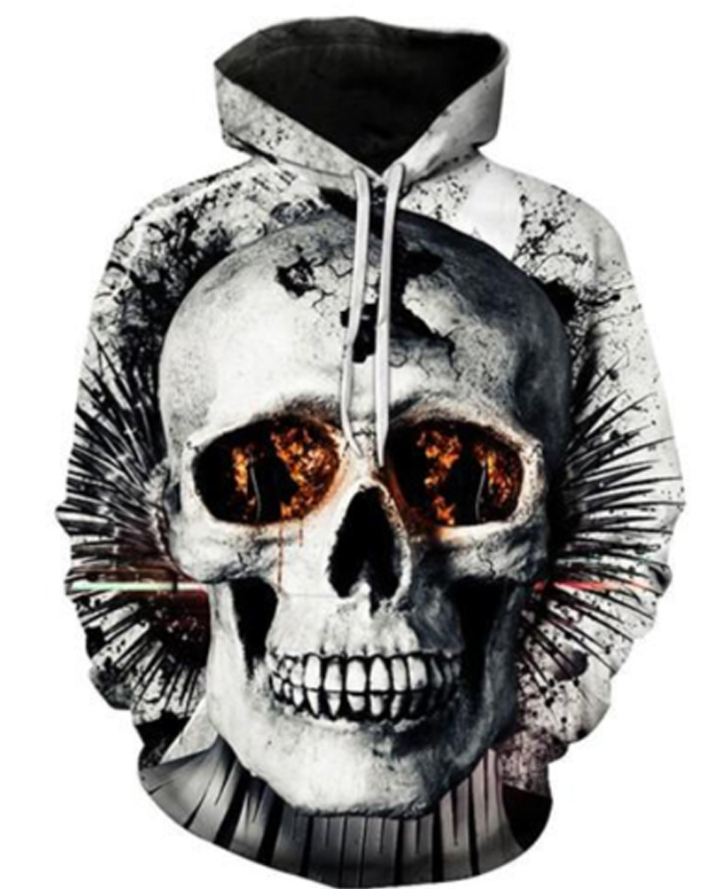 Skull Vibrant Color Polyester Kangaroo Pocket Workout 3D Painted Hoodie