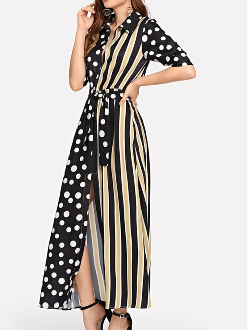 Ericdress Polka Dots Striped Lapel Half Sleeve Patchwork Mid Waist Dress