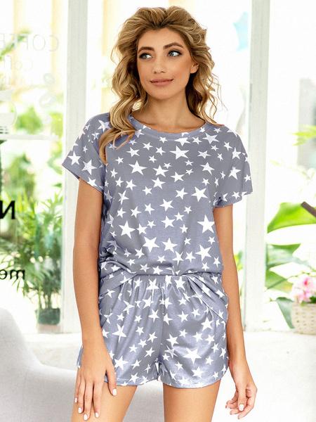 Milanoo Women\'s Loungewear 2-Piece Printed Short Sleeve Jewel Neck Cotton Fibers Fashion