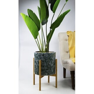UPshining 13'' Extra Large Mid-Century Modern Ceramic Planter Green Marble With Wood Stands (Special Walnut)