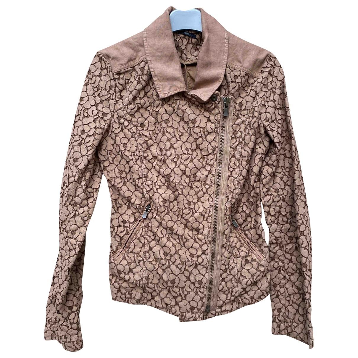 Ikks \N Camel Cotton Leather jacket for Women 34 FR