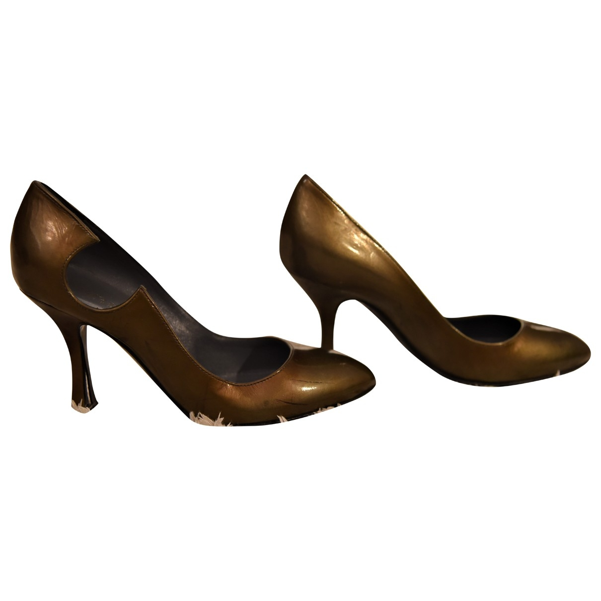 Sergio Rossi \N Gold Patent leather Heels for Women 36 EU