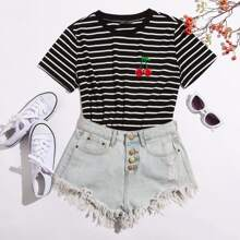 Contrast Neck Embroidery Cherry Striped Tee