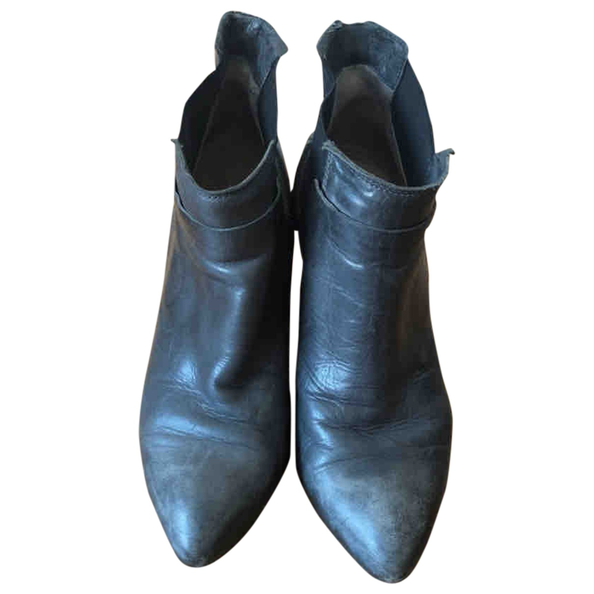 Janet & Janet \N Grey Leather Ankle boots for Women 37 EU
