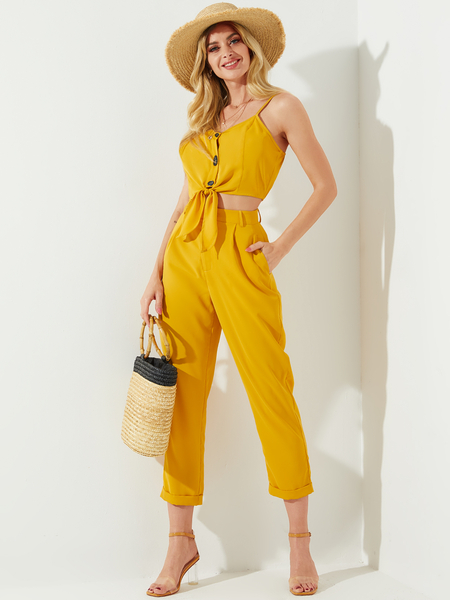 Yoins Yellow Backless V-neck Self-tie Design Cami High-Waisted Side Pockets Pants