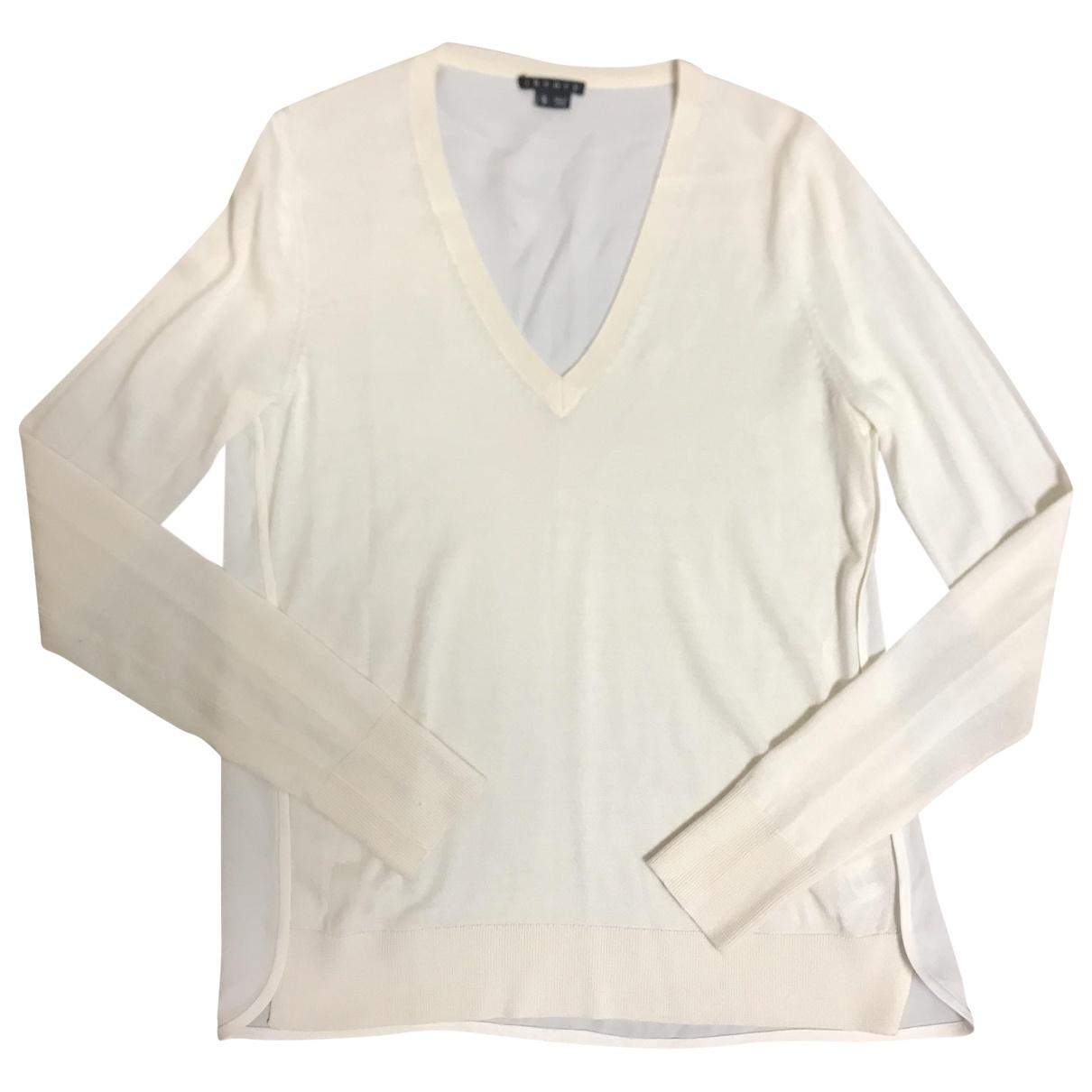 Theory - Pull   pour femme en laine - ecru