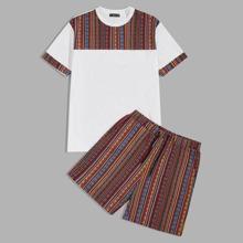 Conjunto de hombres camiseta tribal de color combinado con shorts