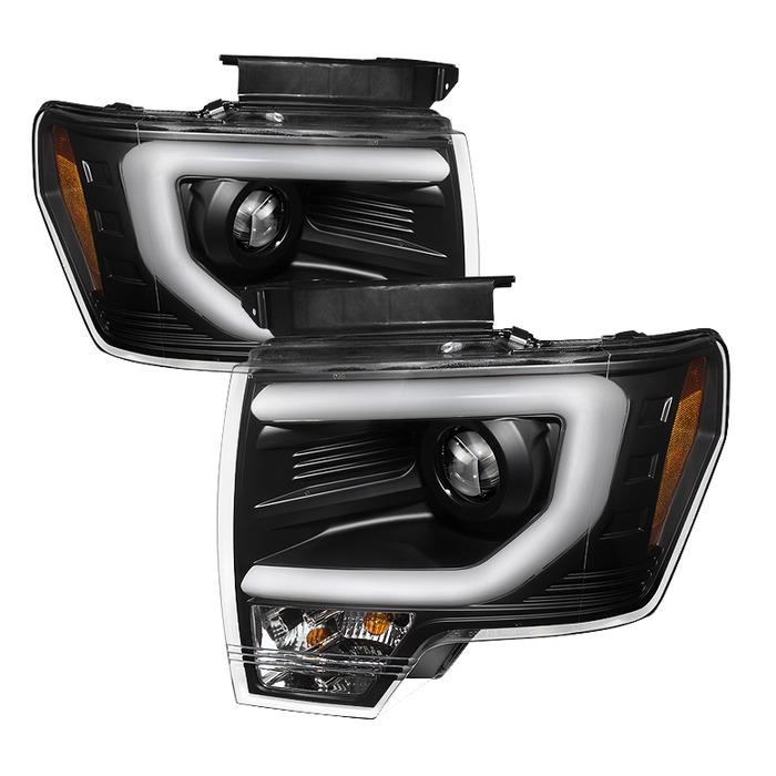 Spyder Auto PRO-YD-FF15013-LBDRL-HID-BK Black DRL Light Bar Projector Headlights Ford F-150 with Xenon Lights 13-19