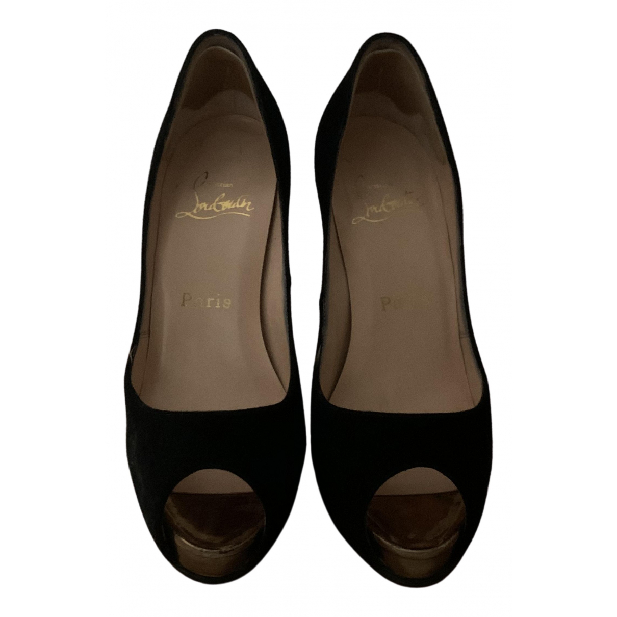 Christian Louboutin Very Privé Black Suede Heels for Women 6 US