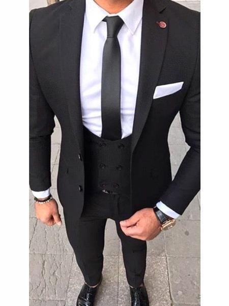 Slim Fit 2 button Black Suit With White Dress Shirt & Black tie