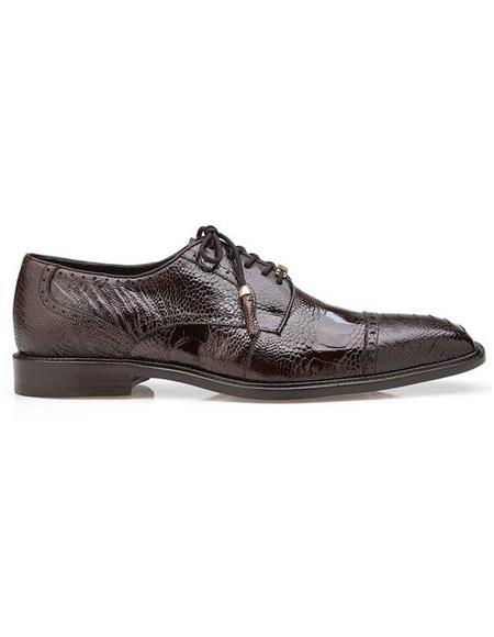 Mens Brown Ostrich Lace Up Shoe
