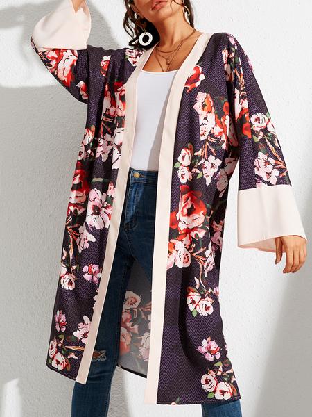 YOINS Multicolor Random Floral Open Front Cardigan