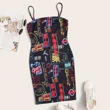 Letter Graphic Slip Dress