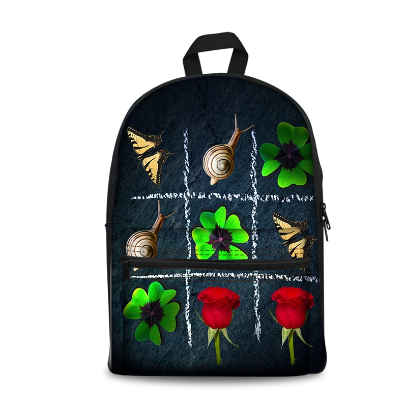 3D Nine Block Box with Leaves Flowers and Snails Pattern School Outdoor for Man&Woman Backpack