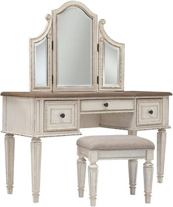Realyn Collection B74322 Vanity with Mirror  Wooden Stool  Tapered Legs  Distress Details  Fabric Material  Storage Drawers  Decorative Hardware