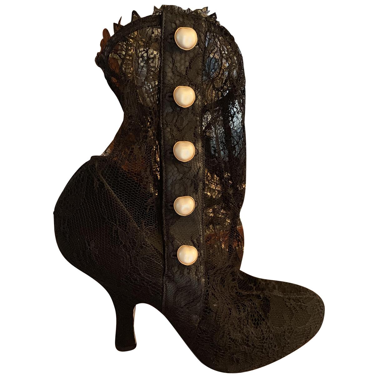 Dolce & Gabbana - Boots   pour femme en dentelle - noir