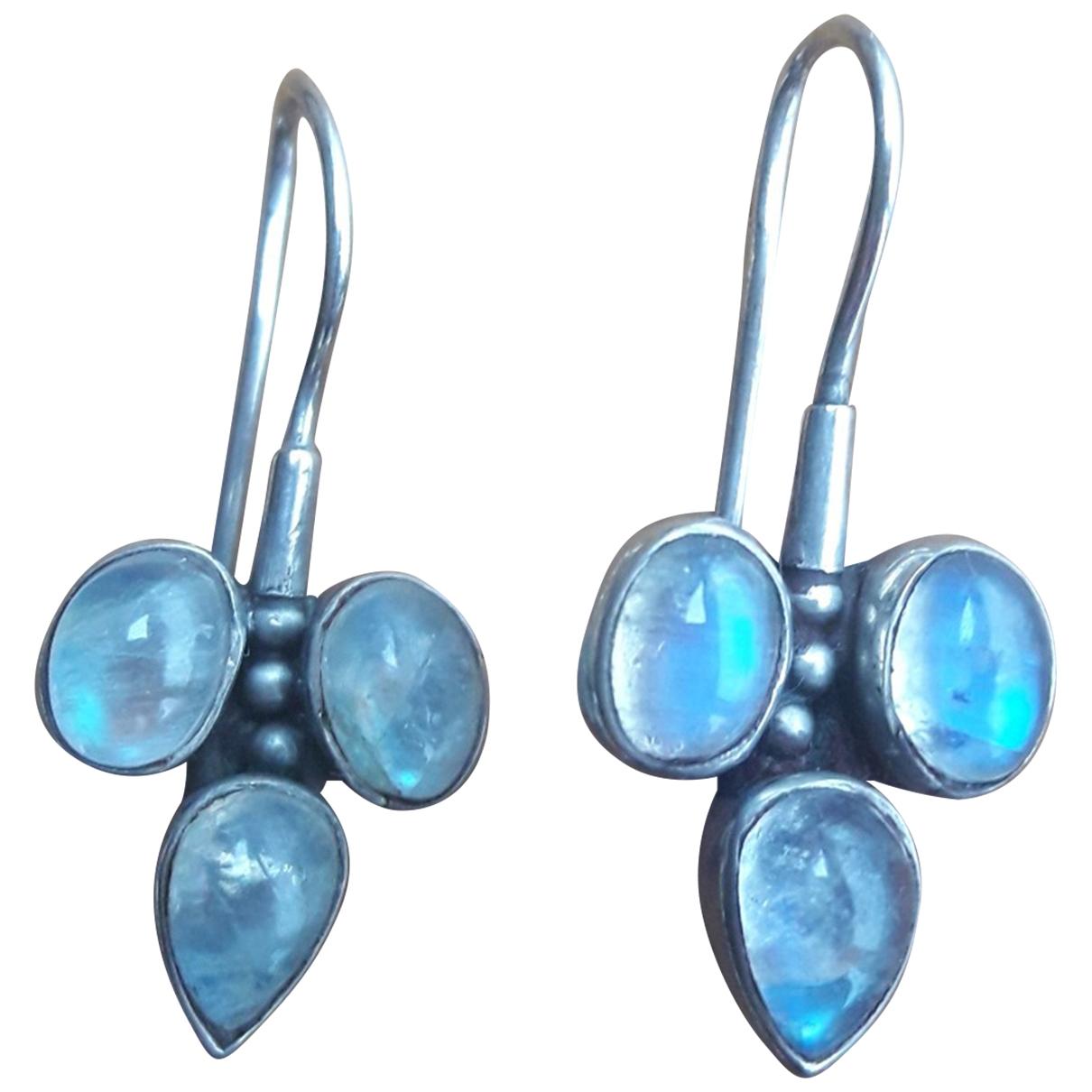 - Boucles doreilles Motifs Floraux pour femme en argent - bleu