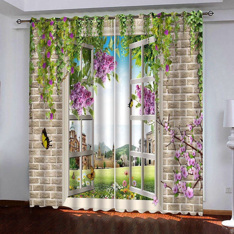 Room Darkening 3D Scenery Curtains 2 Panel Set 200 ㎡ Thick Polyester Silky Satin Polyester Blend Provides an Elegant Look and Silky Soft Touch Good Sh