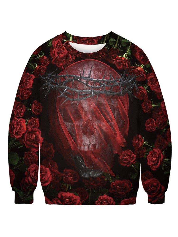 Black and Red Color Block Rose and Skull 3D Printed Pullover Long Sleeve Loose Men's Hoodies